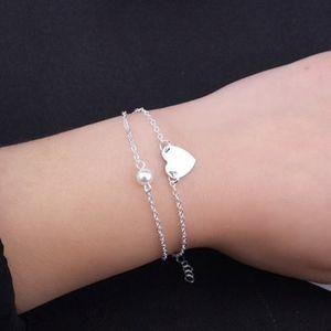 Jewelry - Dainty Single Pearl Heart Silver Layered Bracelet